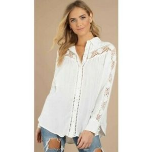 Free People Katie Bird Button Down Blouse Size Lg